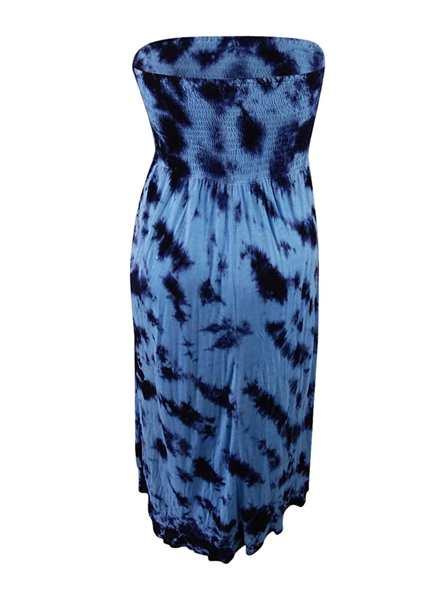 a7e47f7de2 Amazon.com  Raviya Women s Black Blue Printed Cascade Tube Cover-Up Dress  (S)  Clothing