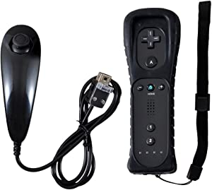Remote Controller for Wii,Yudeg Wii Remote and Nunchuck Controllers with Silicon Case for Wii and Wii U(not Motion Plus) (Black)