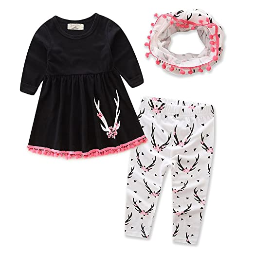 7e43457b51ad Amazon.com: Samgami Baby Girls Baby Daily Clothes Black Cotton Tops ...