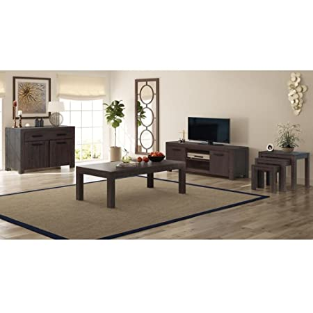 Weilandeal 6 Piece Living Room Furniture Set Solid Acacia Wood Smoke