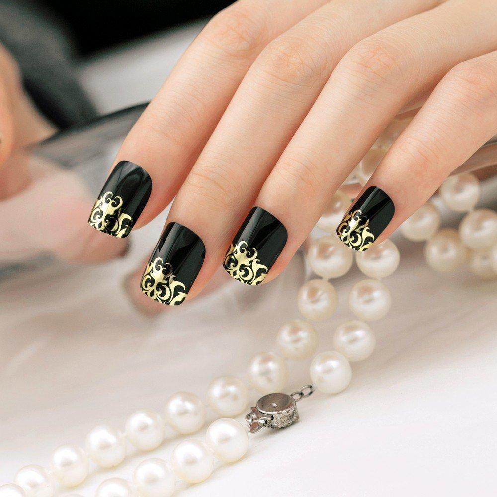 ARTPLUS negro media funda de Full de cromo Kit de uñas postizas con pegamento 24pcs Negro Oro metálico uñas postizas: Amazon.es: Belleza