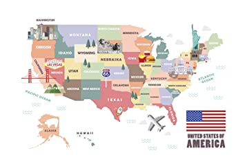 amazon usa united states of america map有名attractions旅行ポスター