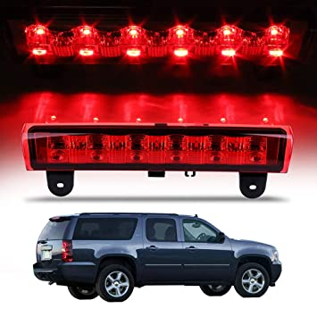 cciyu LED 3rd Brake Lights Cargo Lamp Assembly Automotive Tail Lights Red Lens Replacement fit for 1988-1998 Chevy GMC C//K C10 Silverado Sierra