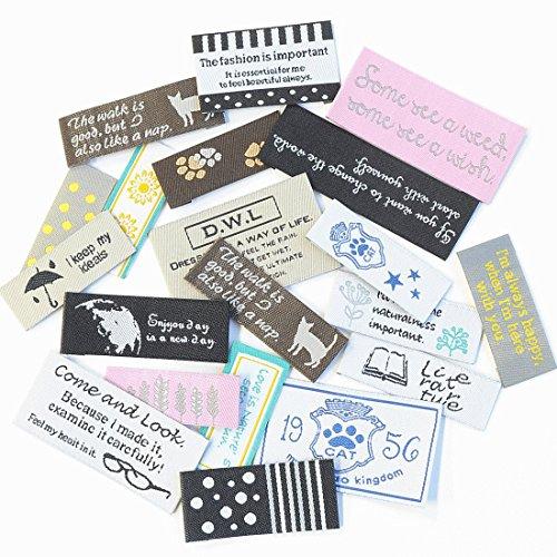 お揃いの タグ & ピスネーム 20枚セット 刺繍タグ ワッペン ハンドメイドの商品画像