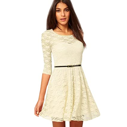 Image Unavailable. Image not available for. Color  ABASSKY Women s Spoon  Neck 3 4 Sleeve Lace Skater Dress ... b153ebe06