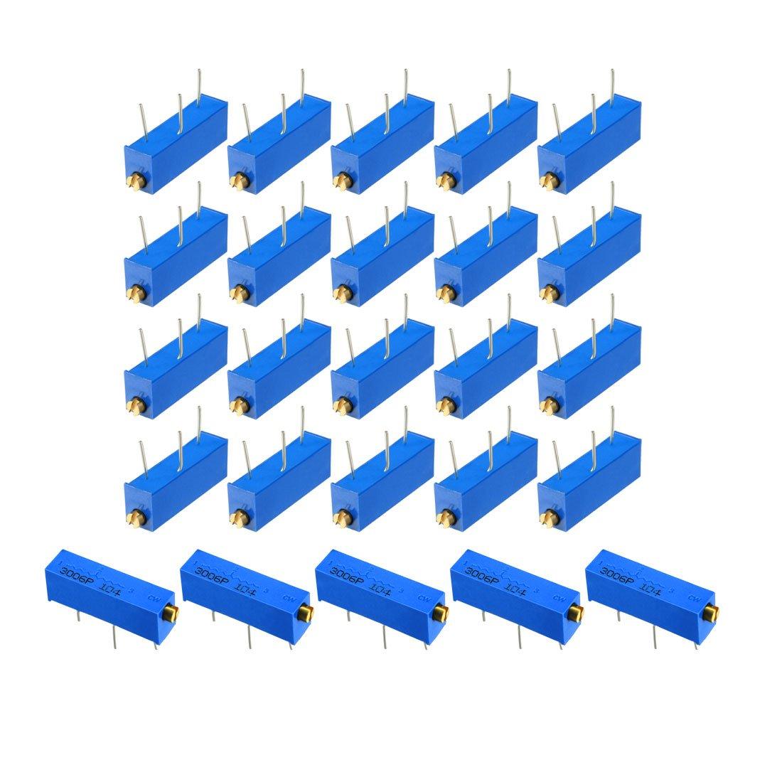 uxcell Variable Resistors 2k Ohm Side Adjustment Vertical Cermet Potentiometer 25 Pcs Blue