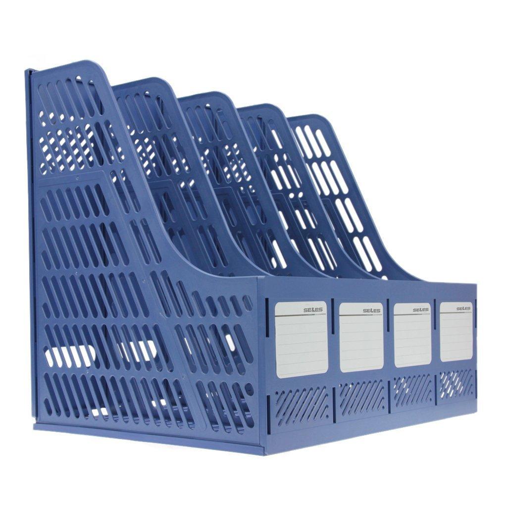 color azul 32.5*25.5*27.5 Se y es resistente pl/ástico marcos cuadruplicado de escritorio revista titulares documento pantalla divisores Gabinete Rack de almacenamiento caja organizadora