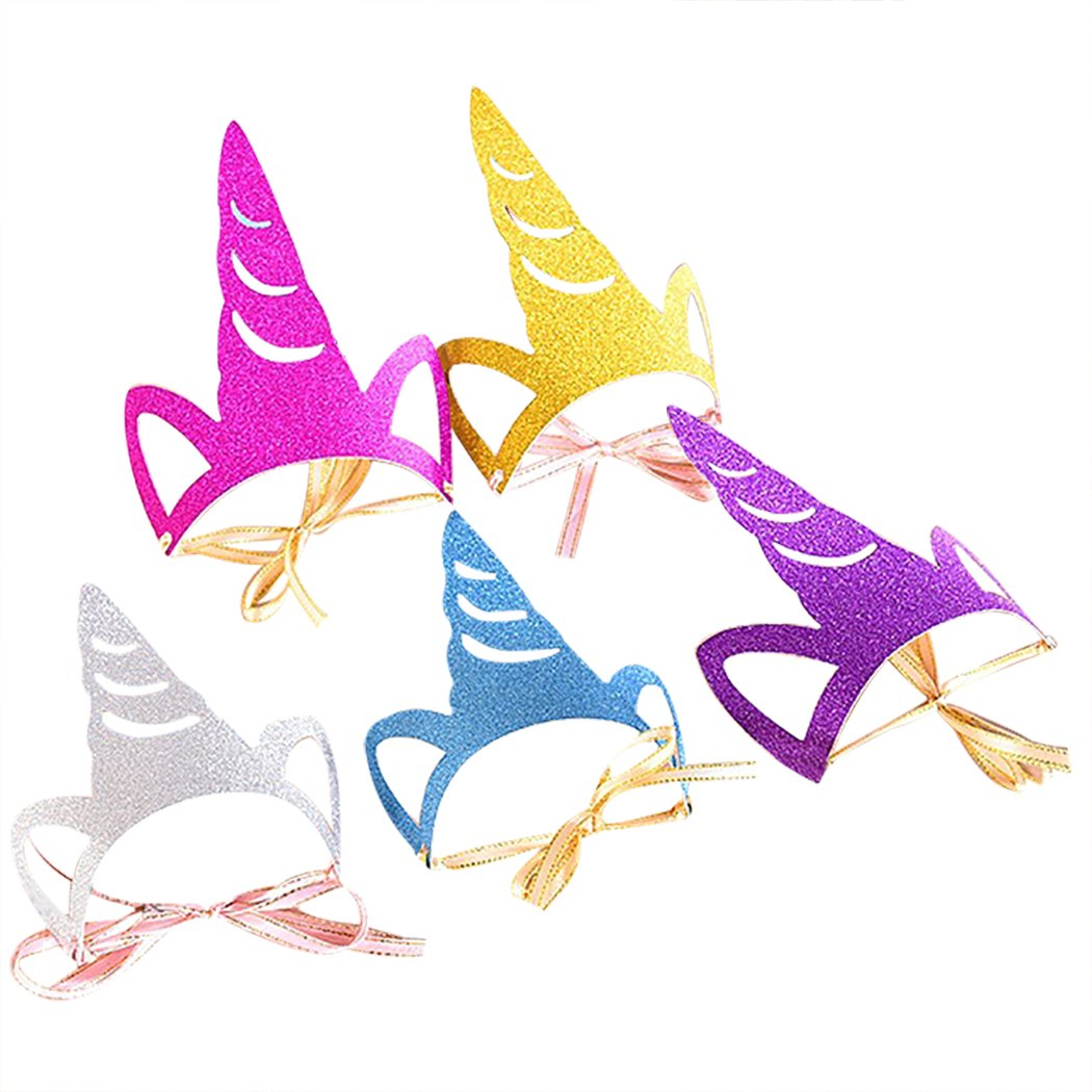 10 Pcs Kid Unicorn Party Hat Creative Unicorn Horn Shape Glitter Crown Party Supplies Birthday Hat Party Accessories for Kids Fascigirl Party Hat