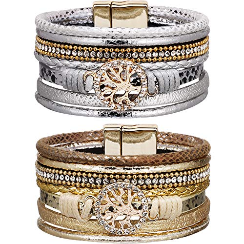 Chuangdi 2 Piece Multi-Layer Leather Bracelet Braided Wrap Cuff Bangle with Alloy Magnetic Clasp Handmade Bohemian Bangle Jewelry for Men, Women Gifts (Diamond Tree Life, Gold and ()