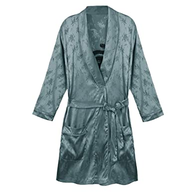 Fashion Dressing Gown Womens Thin Embroidered Satin Nightdress Summer Lapel Short Sleeve Kimono Bathrobe,Green