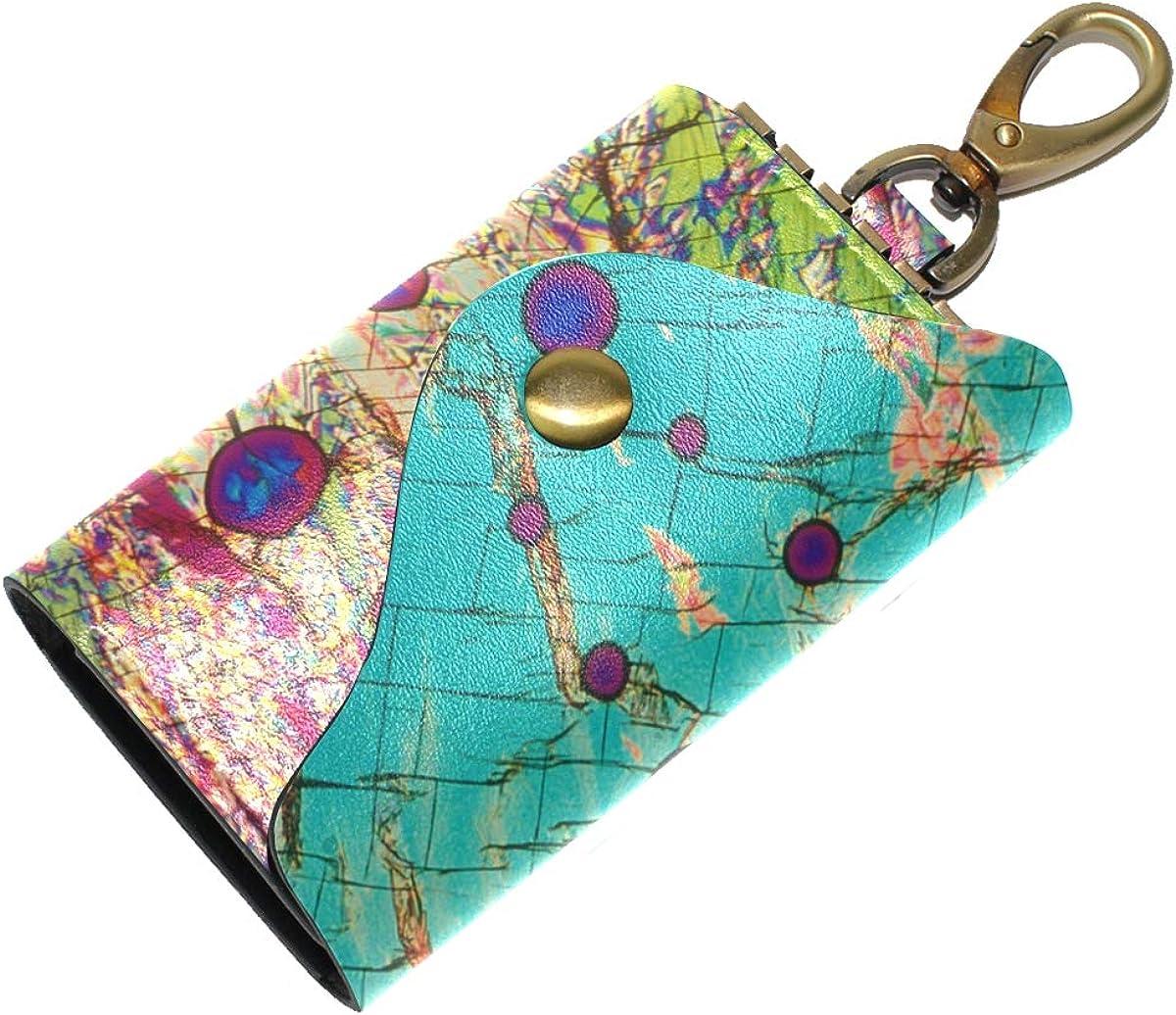 KEAKIA Art Leather Key Case Wallets Tri-fold Key Holder Keychains with 6 Hooks 2 Slot Snap Closure for Men Women