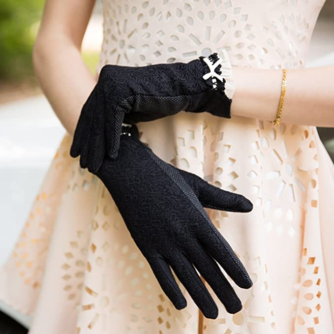 Vintage Style Gloves- Long, Wrist, Evening, Day, Leather, Lace Nappaglo Womens Lace Sunscreen Driving Gloves Touchscreen Outdoor Bowknot for Summer UV Protection  AT vintagedancer.com