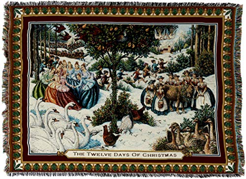 twelve days of christmas woven tapestry throw
