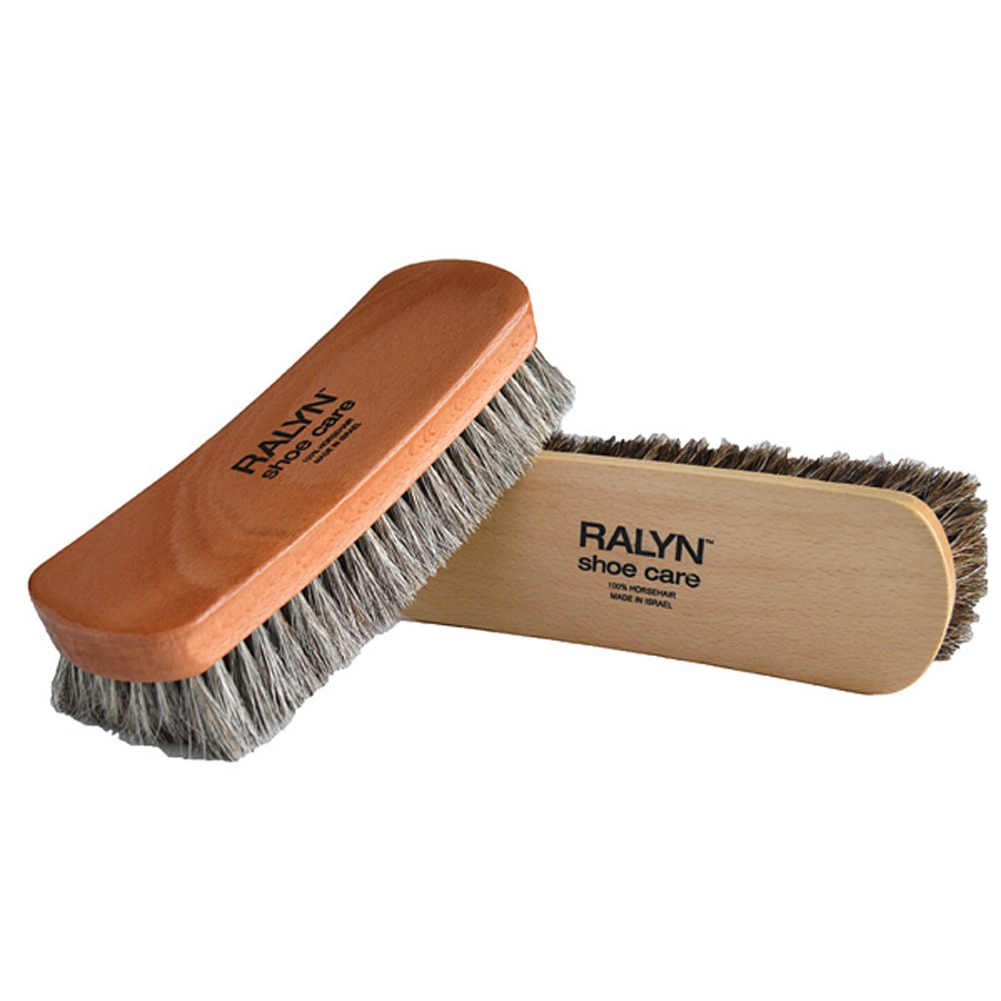 8'' Large Professional Shoe Shine, Buff Brushes. For Boots, Shoes & Other Leather Care. 100% Horsehair Bristles (Horsehair Color May Vary), 2-pack