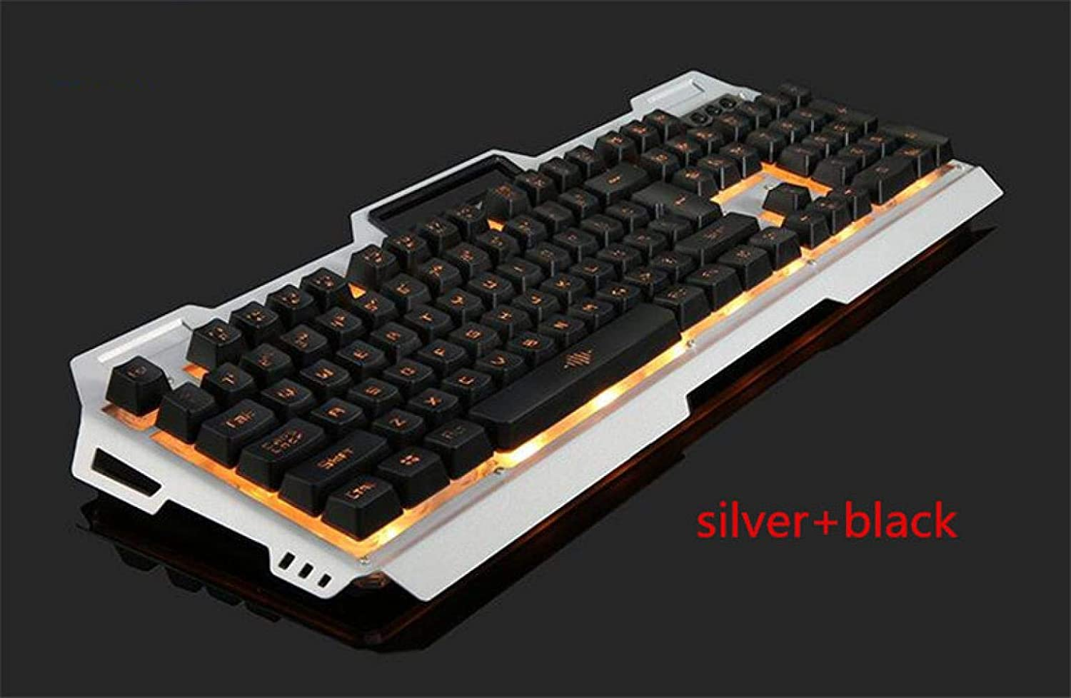 English Gaming Keyboard USB Wired Mechanical Keyboard 104 Keys Changeable LED BackliFor Large-Scale Game Silver