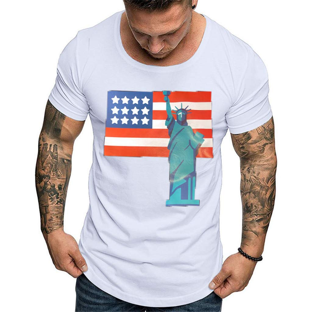 YOMXL Graphic T-Shirt for Men American Flag Hipster Hip Hop Tee Casual Short Sleeve Tops Shirts White by YOMXL