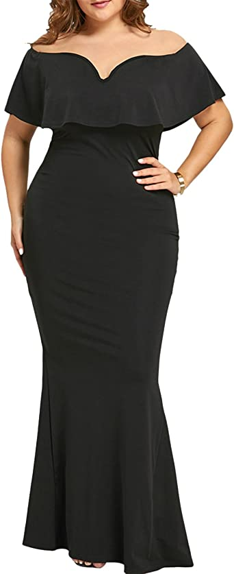 Gamiss Womens Plus Size Evening Dress Sexy V Neck Off Shoulder