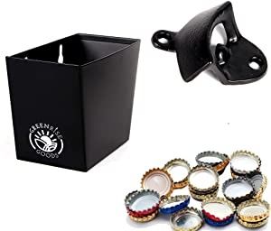 GREENRISE GOODS Wall Mounted Bottle Opener with Cap Catcher Bin – Black Heavy-Duty Opener for Indoor/Outdoor, Bar, Home Use – Comes with Mounting Screw and Wall Plug, 7.6 x 6.3 x 2.5 cm