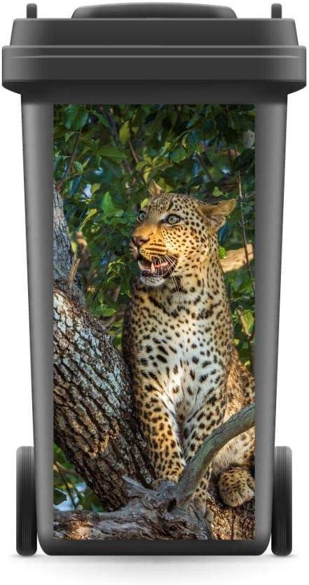 800 x 370 mm M/ülltonnenaufkleber M/ülltonne Abfalltonne Sticker Aufkleber Leopard WERBEPUNKT