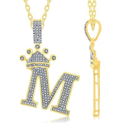 TGDJ 10K Yellow Gold Initial Letter M 0 52 Ct Crown Diamond