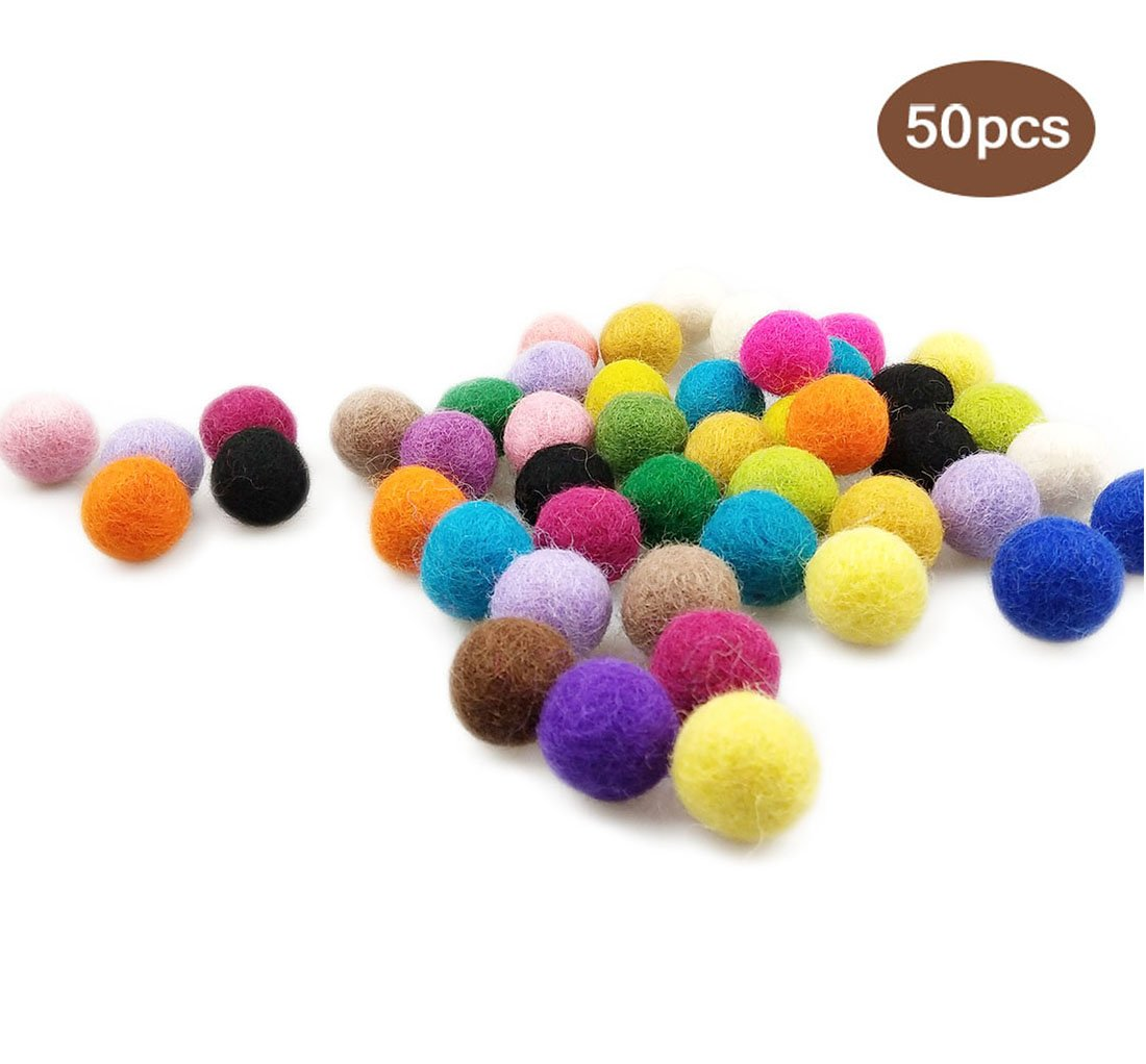 Wool Felt Balls 20mm 50pcs Pure Wool DIY Christmas Decor Crafts Wool Pom Gumball Beads, Mix Color Blumsi