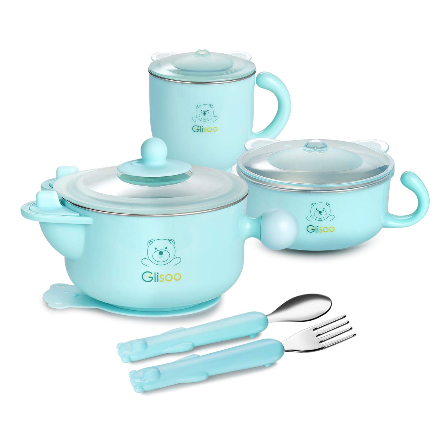 BPA Free Baby Feeding Set, Feeding Bowl with Lid, Salad Bowl, Milk Cup,Spoon and Fork for 6m Toddlers,316 Stainless Steel,Gift Set Tableware Set by Glisoo Mint Green