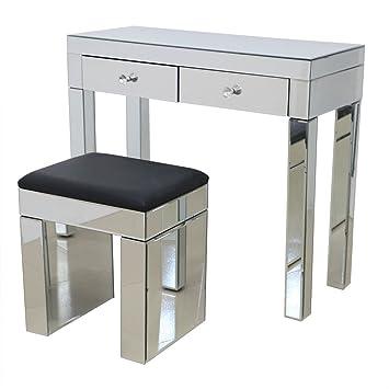 anjohn miroir coiffeuse deux tiroirs console de chambre coucher vanity maquillage bureau avec tabouret
