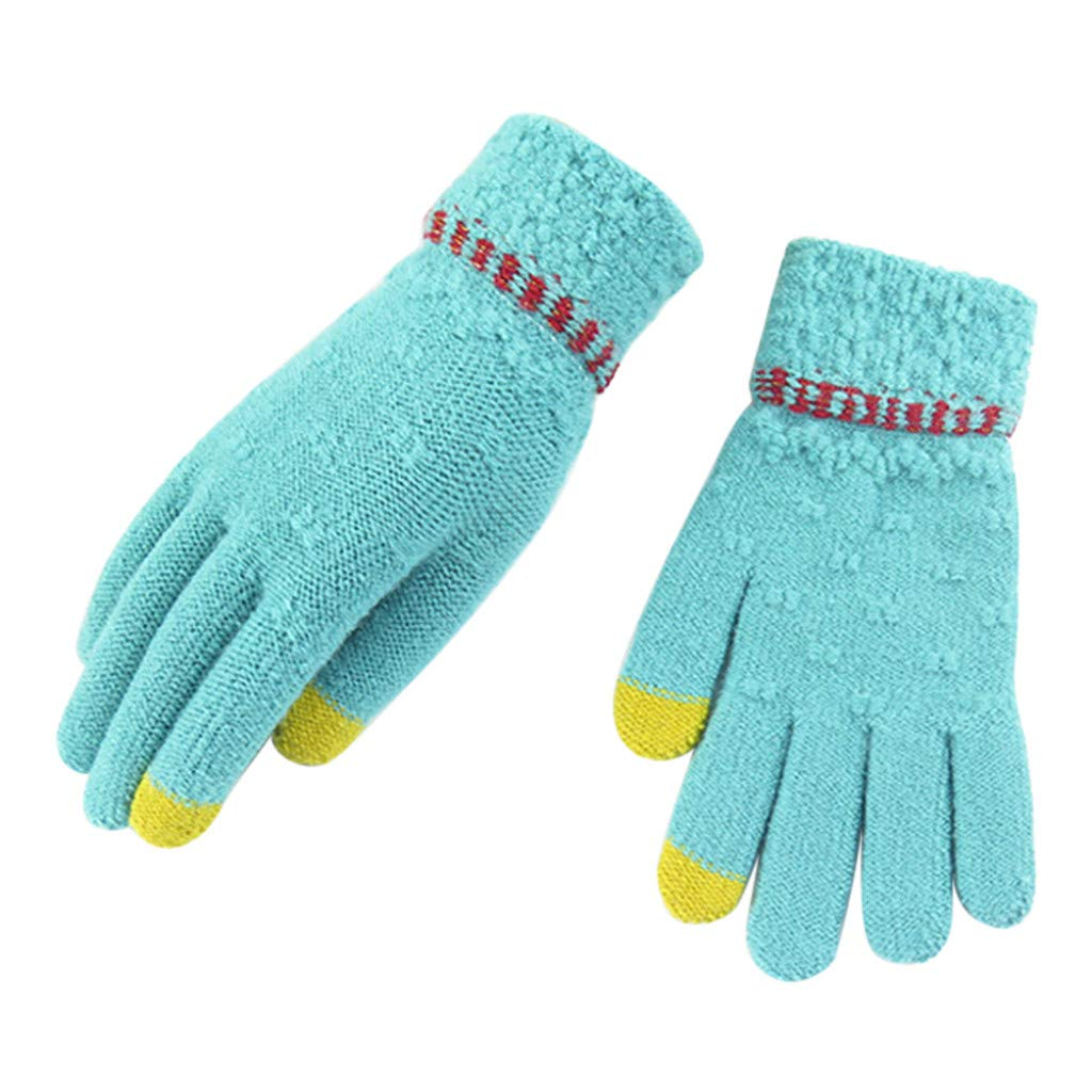 Sikye Winter Touch Screen Gloves Knittied Thickened Five Fingers Gloves Soft Warm Mitten for Cellphone Laptop Tablet (Blue)