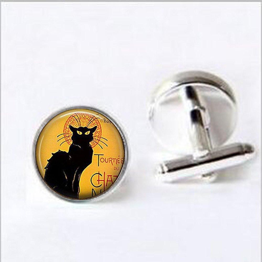 Le Chat Noir Art Boutons de manchette Boutons de manchette Charm Boutons de manchette, le chat, chat, chat Bijoux