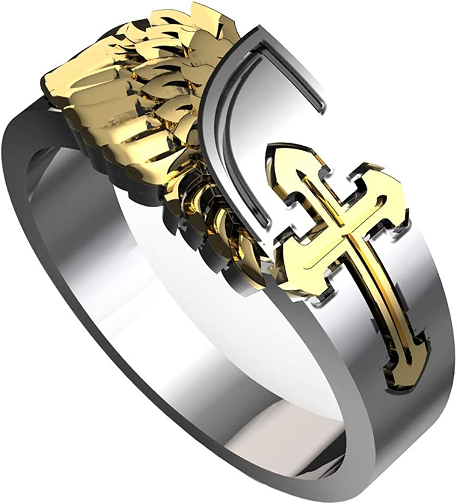 eejart 18K Gold/Silver Plated Cross with Angel Wings Ring for Men and Women, The Premium Fashion Forward 316L Stainless Steel Unisex Ring Biker Gothic Jewelry