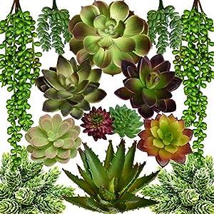 SEEKO Artificial Succulents - 14 Pack - Create Realistic Succulent Arrangements, Faux Potted Succulent Decor, and Fake Succulent Planters for Your House or Apartment 4