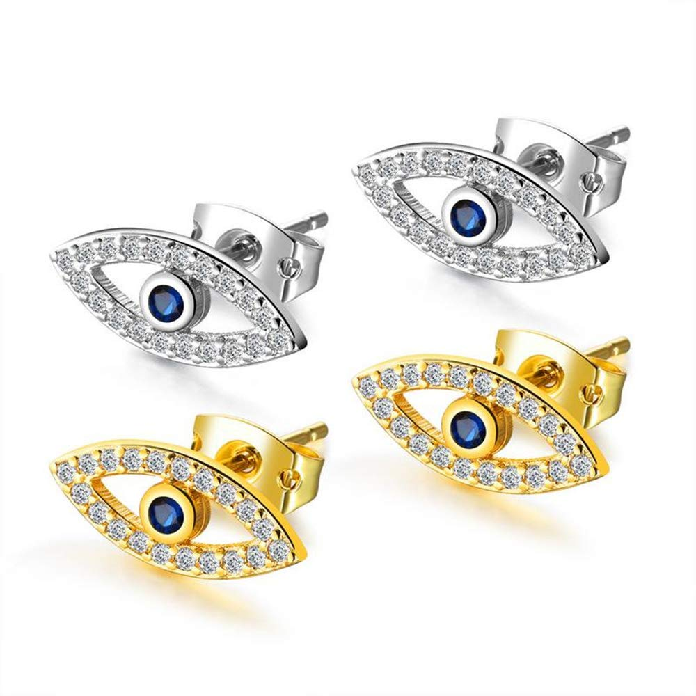 Womens Fashion 18k Gold Earrings for Party Wear Gold//White,Gold Vintage Evil Eyes Blue Eye Zircon Earrings