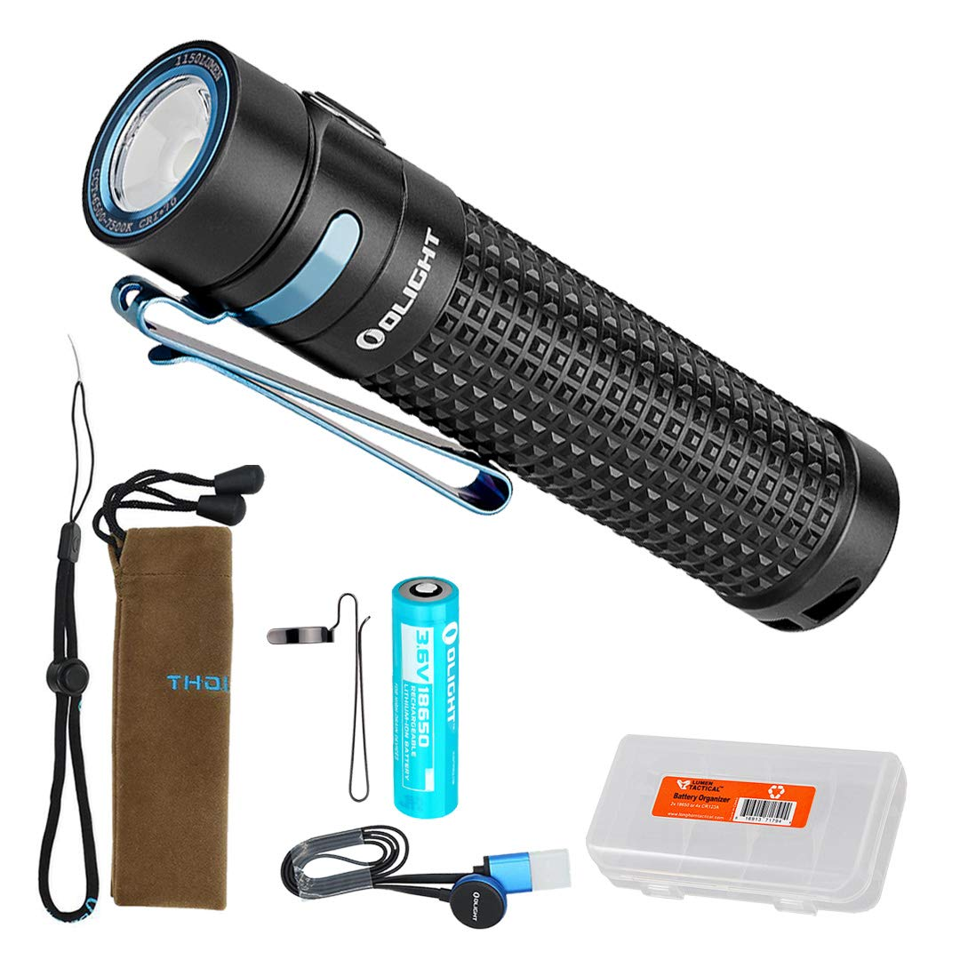 Olight S2R II (S2R Upgrade) 1150 Lumen Rechargeable LED Flashlight with Magnetic Charger, Rechargeable Battery and LumenTac Battery Organizer by OLIGHT