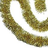 50 Shiny Gold Festive Christmas Foil Tinsel Garland - Unlit - 8 Ply