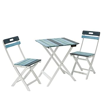 Gartenmöbel Set 2 Klapp Stühle 1 Klapp Tisch Eukalyptus Holz Maritim Blau