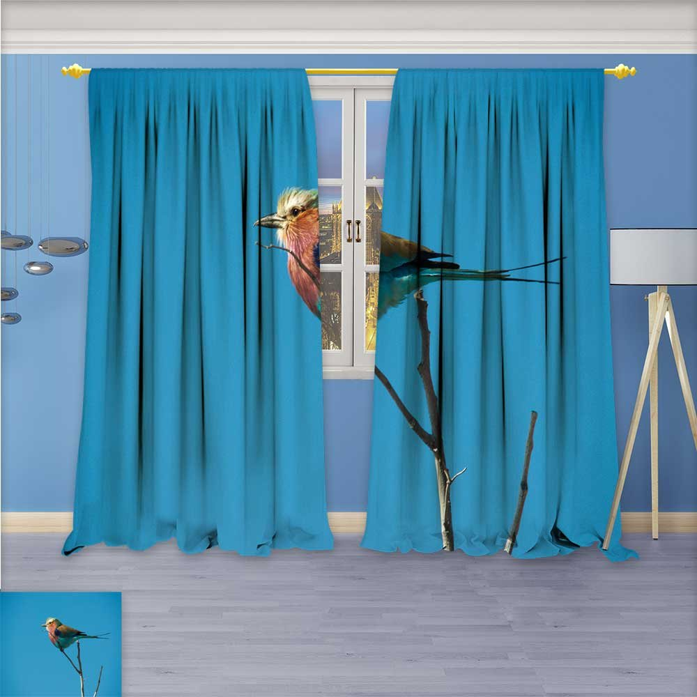 SCOCICI1588 Design Print Rod Pocket top Thermal Insulated Coloured feathered animal birds Linen Room Darkening Curtains W104'' x L108'' Pair
