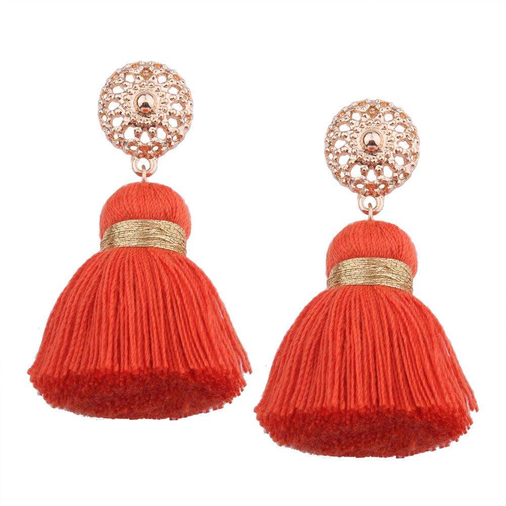 Aibelly Bohemian Retro Ethnic Short Tassel Statement Chandelier Dangle Drop Earrings New Fashion Handmade Thread Stud Earrings for Woman Girls by Aibelly (Image #1)