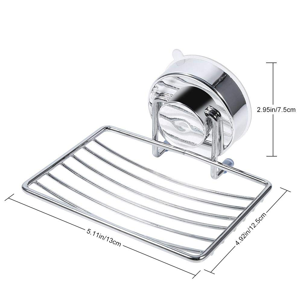 Soap Dish Rack Strong Suction Removable Stainless Steel Soap Dish Holder with Basket Tray for Bathroom Kitchen Organizer Soap Bars Sponges Shampoo