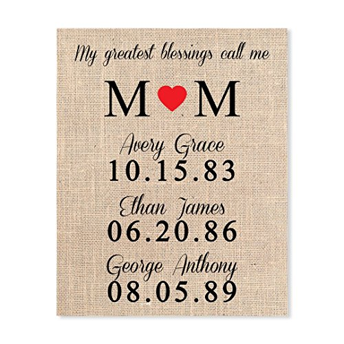 Personalized Mother Print with Children's Names, Heart, Birthdates on Laminated Burlap