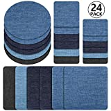 Denim iron on patches for jeans, Iron on denim patches extensive, Patches for clothing repair, Yosemy 24pcs Strongest iron on denim jean patches inside ,6 Colors