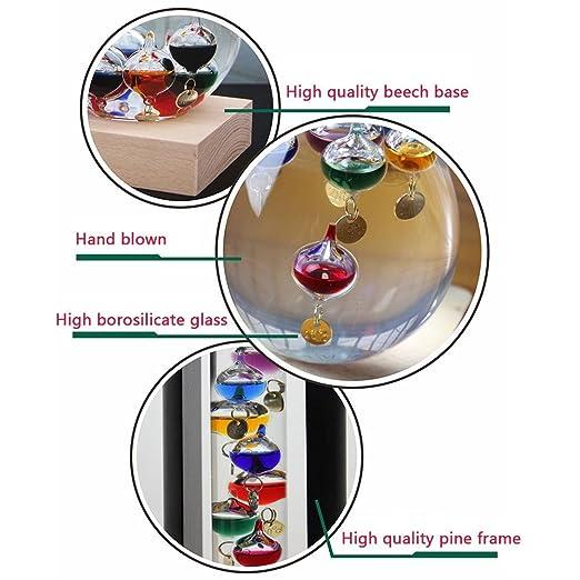 PAWACA Creativo Galileo termómetro higrómetro y barómetro de líquido de cristal de cristal Storm, con color flotadores y dorado etiquetas en un soporte de ...