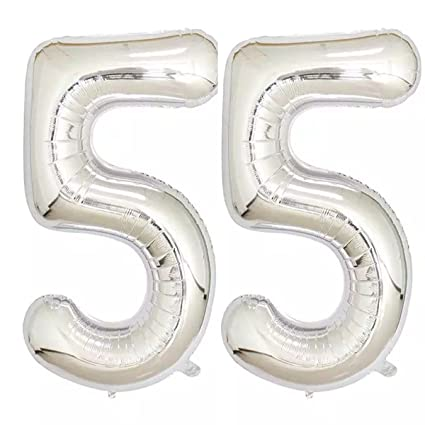 Amazon 40inch Silver Foil 55 Helium Jumbo Digital Number