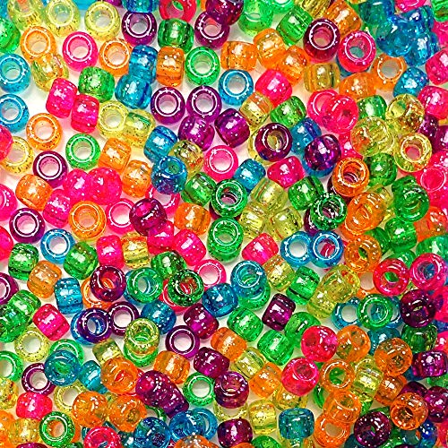 Bright Glitter Multicolor Mix Plastic Pony Beads Bulk 6x9mm, 1000 Beads