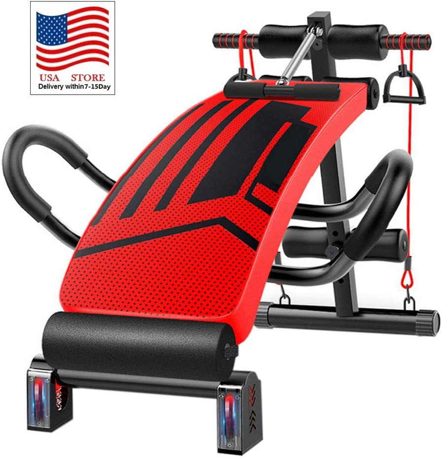 Polwer Adjustable Weight Bench Sit Up Bench Dumbbells Supine Board Push Ups Bench Press Workout Benches for Home Strength Abdominal Training for Indoor Sports Activities