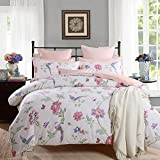 WINLIFE 4-pieces Country Rustic Bedding Vintage Floral Fitted Sheet Full