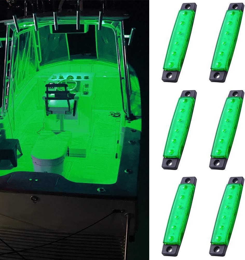 MNJ MOTOR 6pcs Marine Boat Fishing Lights, 12V Waterproof Utility Led Interior Light - Boat Deck Courtesy Transom Cockpit Light For Yacht Fishing Pontoon Boat Sailboat Kayak Bass Boat Vessel-Green: Automotive