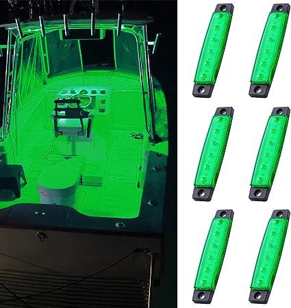 6x Blue 12V Marine LED Navigation Light Waterproof PC Lens Boat Stern Lights New