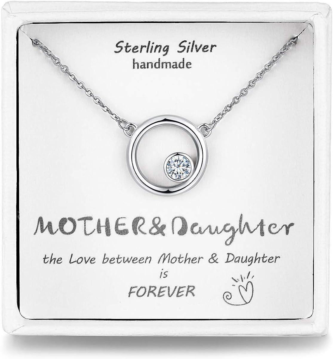 Qings Collares Mujer,Plata de Ley 925 Circonita Collar Circulo Cadena Plata, Regalos para el día de la Madre