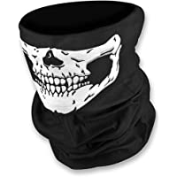 HD Unique Stretchable Windproof Black Tribal Classic Skull Soft Polyester Half Face Mask Facemask Headwear Motorcycle ATV Biker Cycling