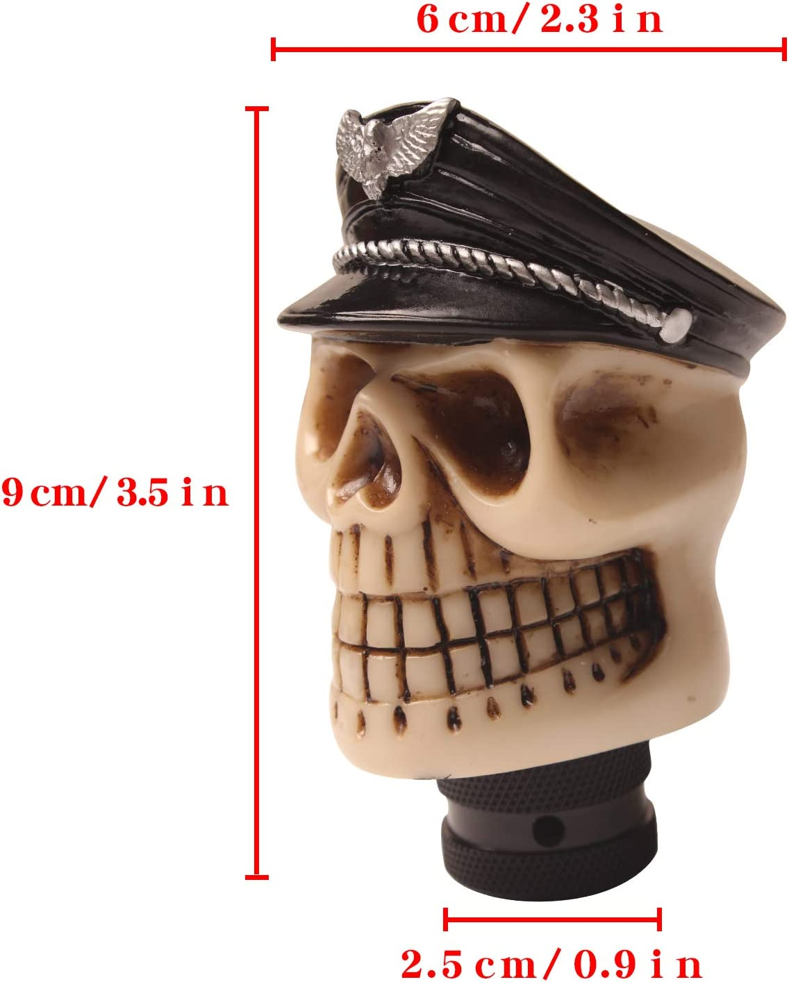Monrand Gear Shift Lever Head Silver Hat Pirate Skull Gearshift Lever Head Stick Handle Fits for Universal Automatic Manual Vehicle